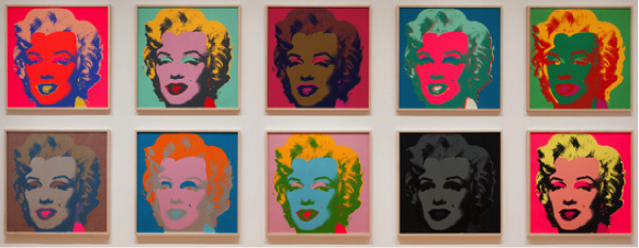 "Andy Warhol, Marilyn, 1967, Portfolio of ten screenprints, each composition and sheet: 36"" x 36"" © 2015 Andy Warhol Foundation for the Visual Arts/Artists Rights Society (ARS), New York. Installation view © 2015 The Museum of Modern Art, New York"