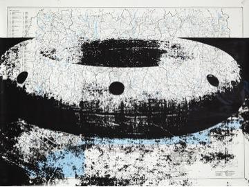 FLOAT (#1-24), Detail, 2015, Silkscreen on Map, Single Print