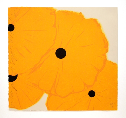 Donald Sultan, Yellow Poppies September 12, 2013, 2013, 8 color screen-print with flocking, courtesy of the artist and Mary Ryan Gallery, New York
